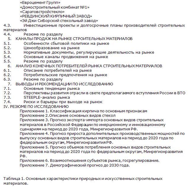 Российский рынок строительных материалов содержание 2