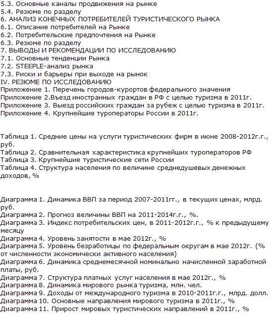 Российский рынок туризма список таблиц